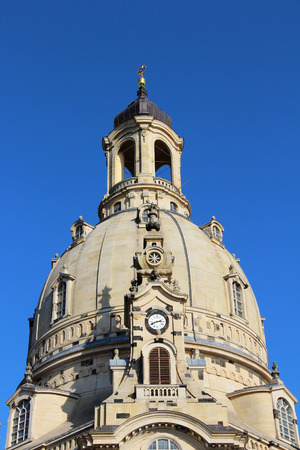 View on the steeple of the frauenkirche in dresden saxony germany photographed on a sightseeing tour in autumn Standard-Bild