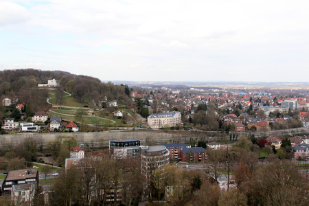 view from the rooftop of the sparrenburg in bielefeld germany photographed in color on a cloudy day