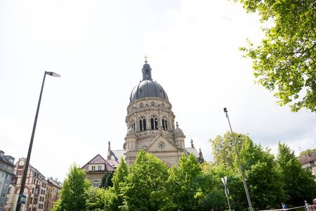 View on the church and steeple at mainz germany photographed on a cloudy day