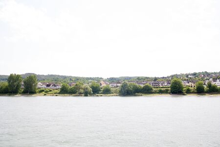 View on a riverbank of the Rhine river in Koblenz