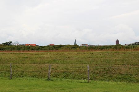 View on the green dike at the northern sea island