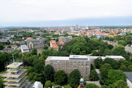 Closer view from the tower of the new civil hall in hannover germany photographed during a walk at a cloudy sunny day
