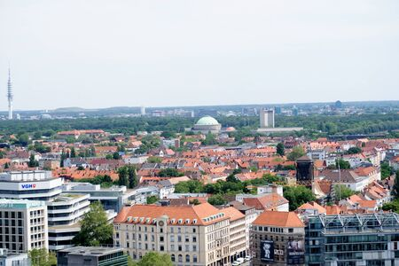 View in crosswise from the tower of the new civil hall in hannover germany photographed during a walk at a cloudy sunny day