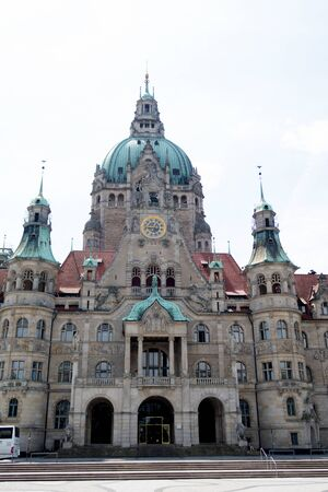 View on the new civil hall in hannover germany photographed during a walk at a cloudy sunny day Imagens