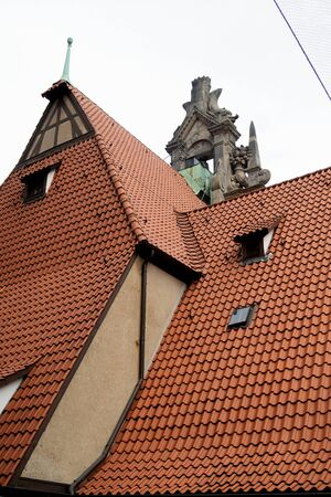 View on a special rooftop in hannover germany photographed during a walk at a cloudy sunny day