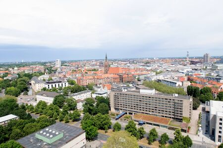 View from the tower of the new civil hall in hannover germany photographed during a walk at a cloudy sunny day Imagens