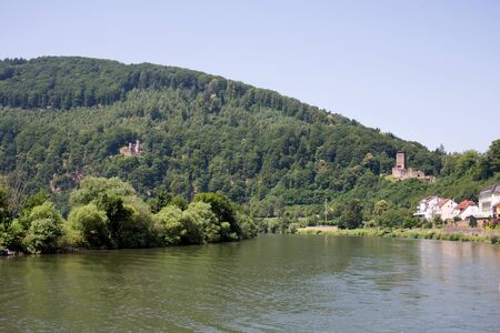 View on the Hill and Nature at the Neckar in Heidelberg Germany during a tour by ship on the Neckar in Germany