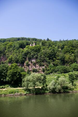 View on the hill at the neckar in heidelberg germany photographed during a tour by ship on the neckar in germany