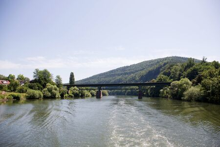View on the bridge at the neckar in heidelberg germany photographed during a tour by ship on the neckar in germany