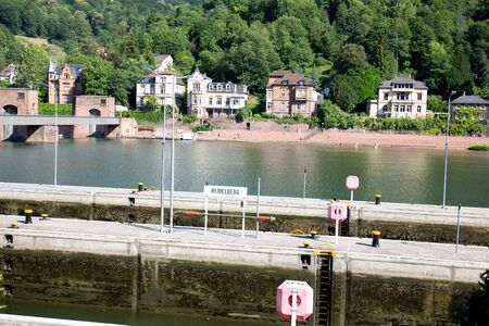 Distant view from the lock along the neckar in Heidelberg germany photographed during a tour by ship on the neckar in germany