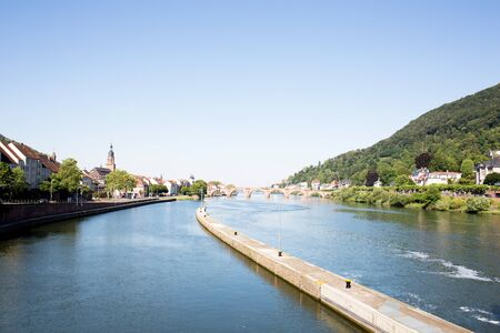 View from the lock at the neckar in heidelberg germany photographed during a tour by ship on the neckar in germany