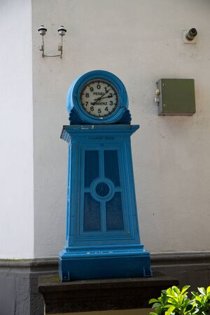 View on a blue clock at the rhine riverbank in Koblenz rhine photographed during a sunny day
