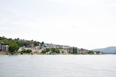 Distant view on the rhine riverbank in Koblenz, Germany