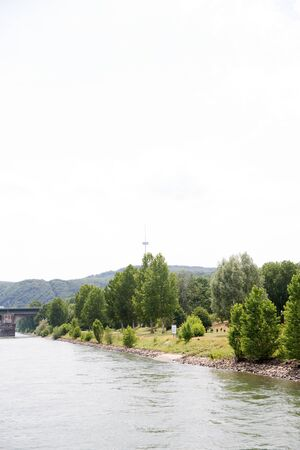 View on a natural landscape at the Rhine riverbank in Koblenz