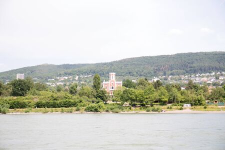 Closer view on the rhine riverbank in Koblenz. Rhine and surrounding photograph during a sightseeing tour on the Rhine at a sunny day