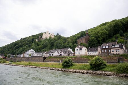 View on a building at the Rhine riverbank in Koblenz Stockfoto
