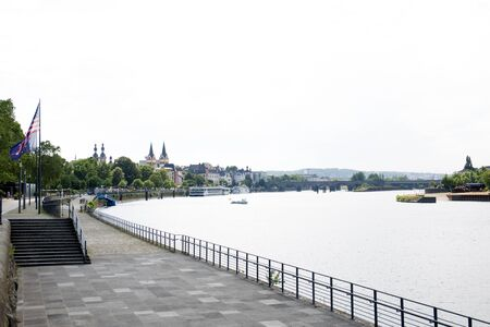 View from a platform at the rhine riverbank along the river rhine in Koblenz rhine photographed during a sunny day