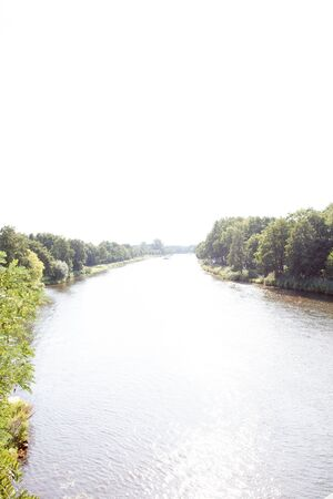 View on the river Ems in Lathen Emsland. Germany. Photographed during a walk in the nature on a sunny day Stockfoto