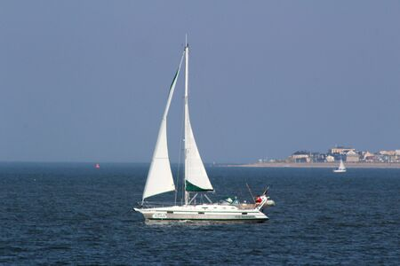 Closer view on sail boat on the northern sea island Stockfoto - 131641335