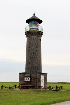 Closer view on a lighthouse on the northern sea island Stockfoto
