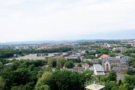 View of the natural landscape and cityscape of Hanover Germany photographed during a walk at a cloudy sunny day