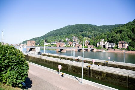 View along the street and river Neckar in Heidelberg. Germany during a tour in Heidelberg Stockfoto - 131639567