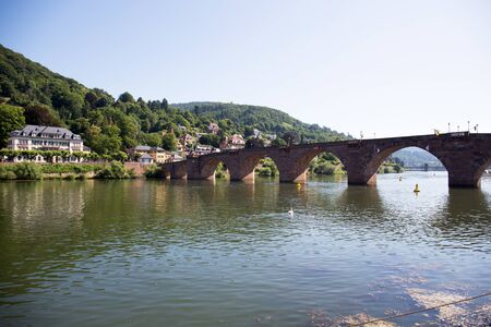 View on the bridge at the Neckar river in Heidelberg Germany during a tour by ship on the Neckar in Germany Stockfoto - 131642921