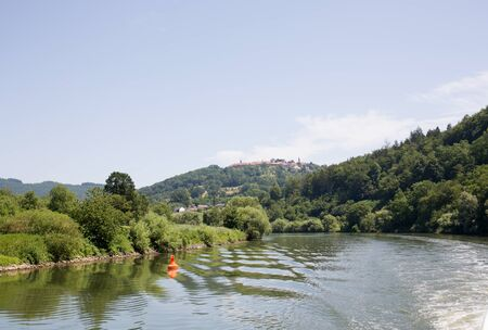 Distant view of the river neckar in Heidelberg germany photographed during a tour by ship on the neckar in germany Stockfoto