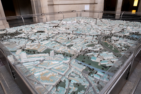 View on a model of Hanover Germany photographed during a walk on a cloudy sunny day
