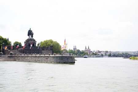 View on the quay and the statue in koblenz germany from the rhine river Stockfoto