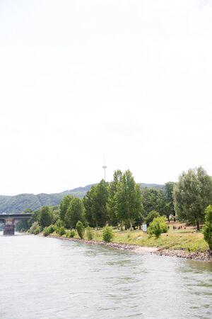 View on the river rhine riverbank near koblenz germany
