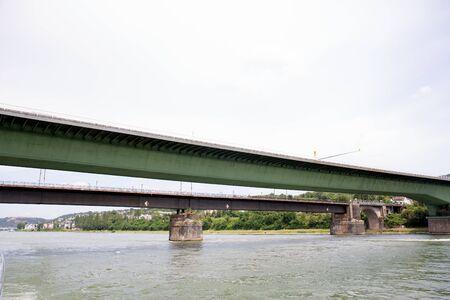View along the bridge over the rhine river near koblenz germany Stockfoto