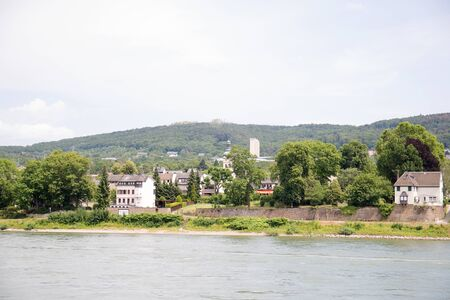 View on the building exterior at the rhine riverbank near koblenz germany