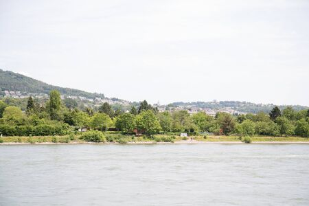 View along the nature at the rhine riverbank near koblenz germany