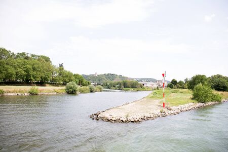 View on the promontory at rhine river near koblenz germany Stockfoto