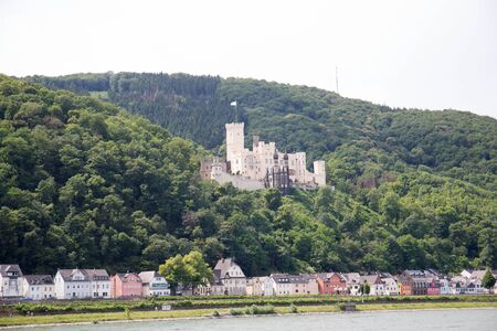 View on the hill at the hill on the rhine riverbank near koblenz germany