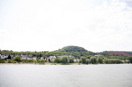 Distant view on the landscape at the rhine riverbank near koblenz germany Stockfoto