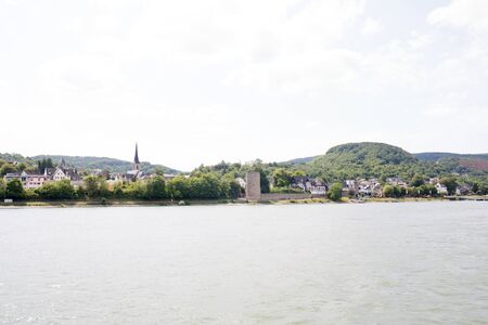 Distant view on the building exterior and hills near Koblenz Germany