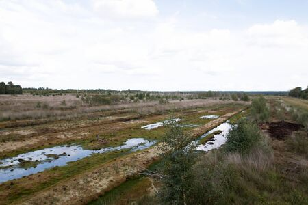 Distant view on a moor landscape under blue skies with water puddles in germany