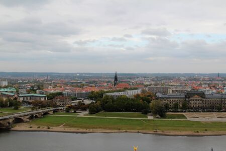 View over dresden saxony germany with river and buildings Stockfoto