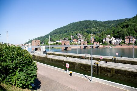 View from the street on the neckar and landscape in heidelberg germany