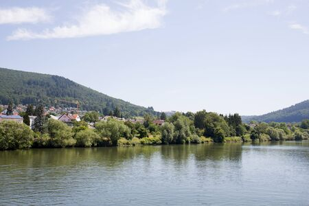 Distant view on the nature at the neckar around heidelberg germany