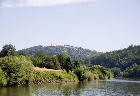 View on the nature with hills at the neckar in heidelberg germany