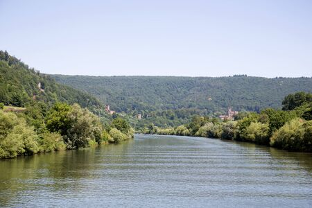 Distant view on the landscape at the neckar around heidelberg germany