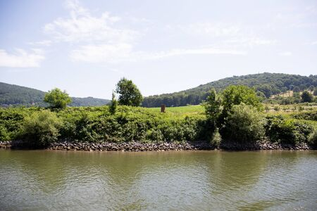View on the natural landscape at the neckar in heidelberg germany