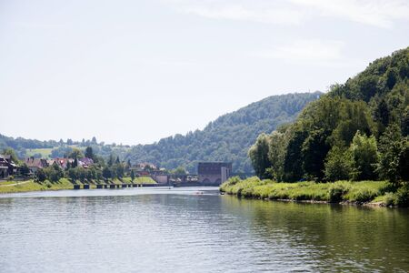 Distant view on the nature at the river neckar in heidelberg germany