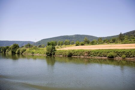 Distant view on the landscape at the neckar in heidelberg germany Stockfoto