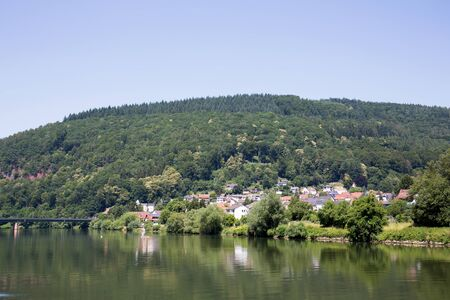 View on a beplanted hill under blue sky at the neckar in heidelberg germany