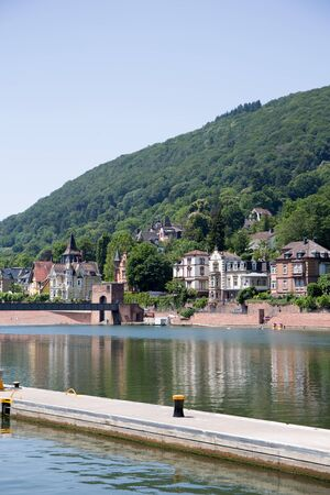 View on end on a natural landscape at the neckar in heidelberg germany