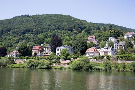 View on a building exterior at the neckar in heidelberg germany